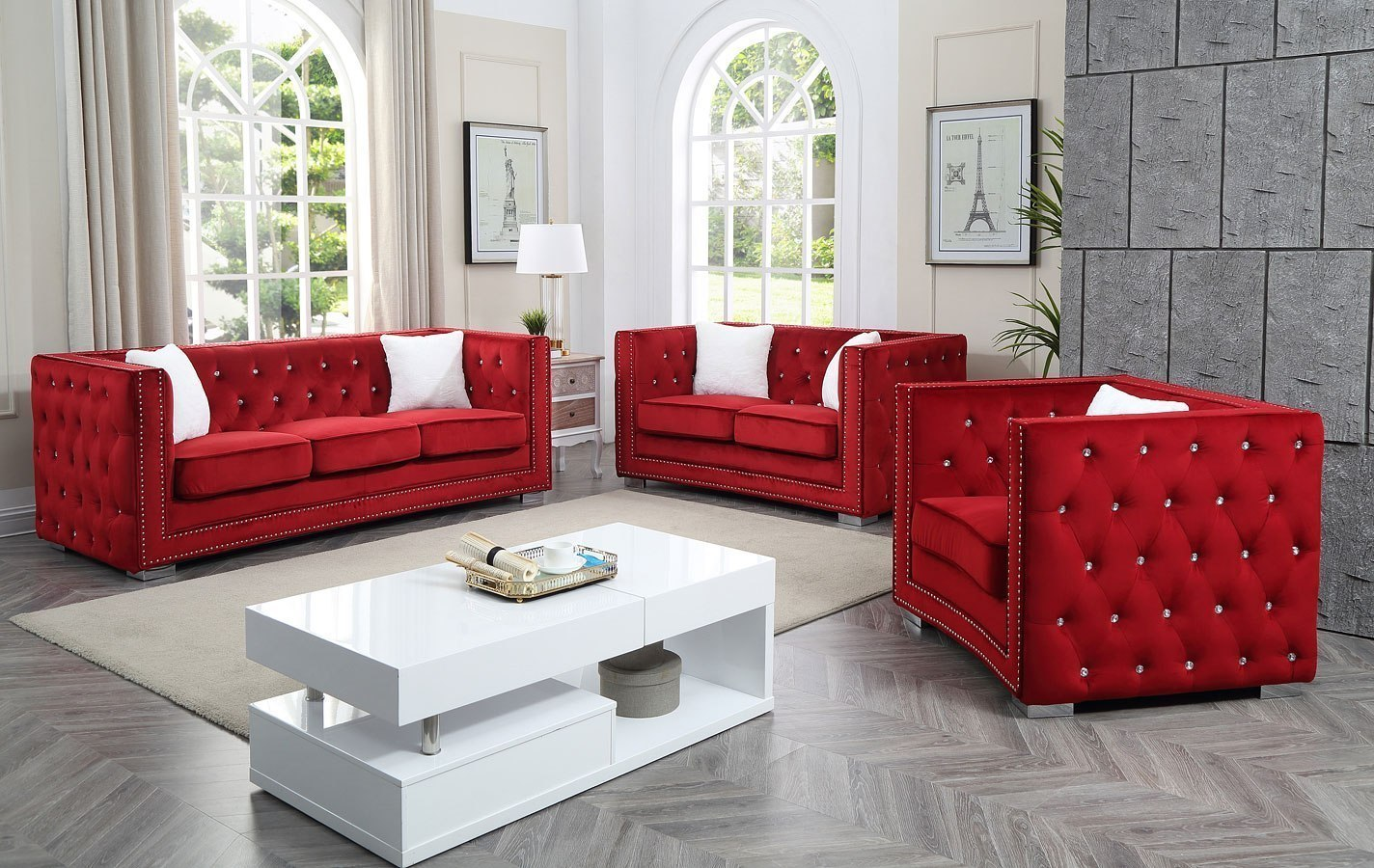 Miami Living Room Set (Red)