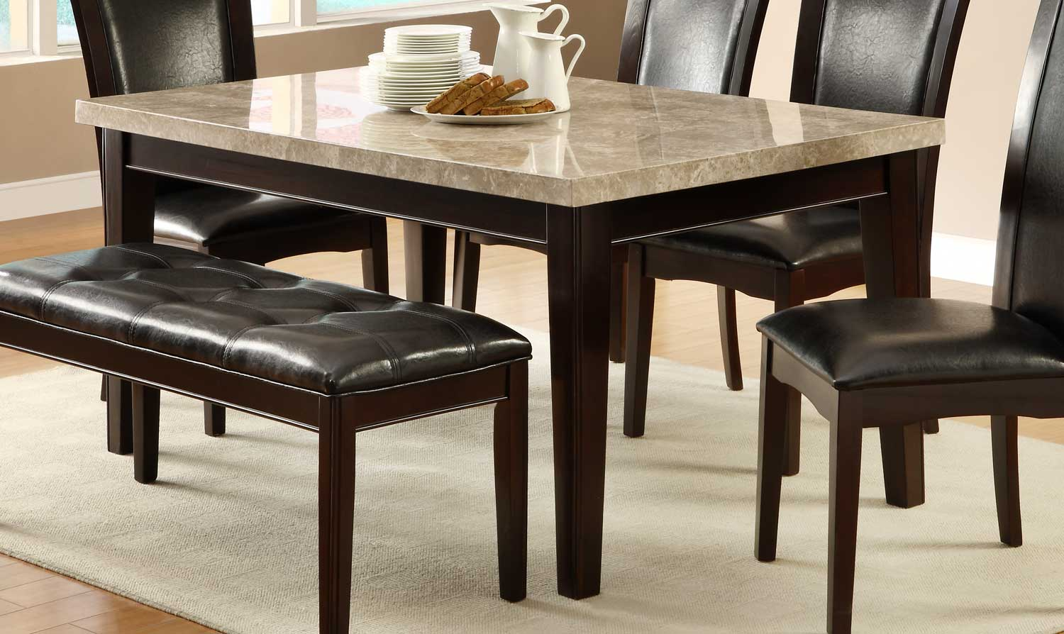 Homelegance Hahn Dining Table With Marble Top Hahn