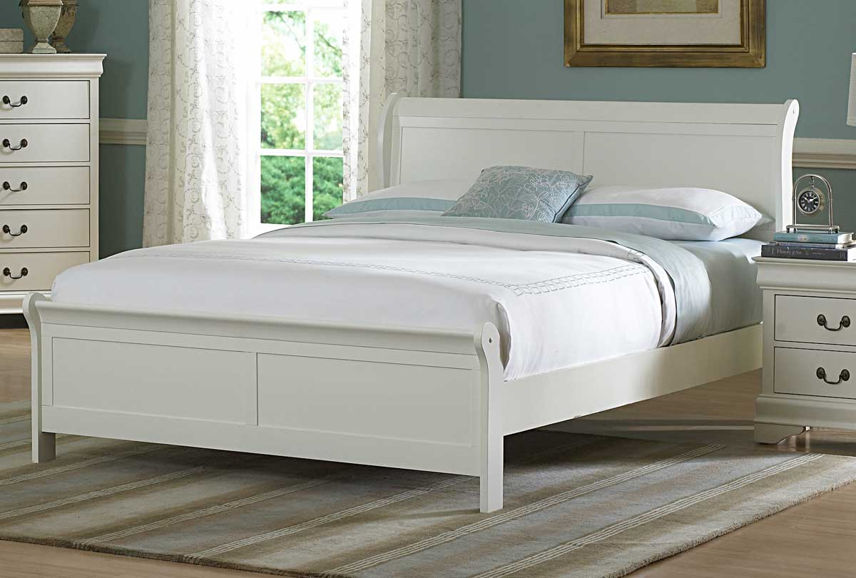 Marianne White Queen Sleigh Bed - 1StopBedrooms.