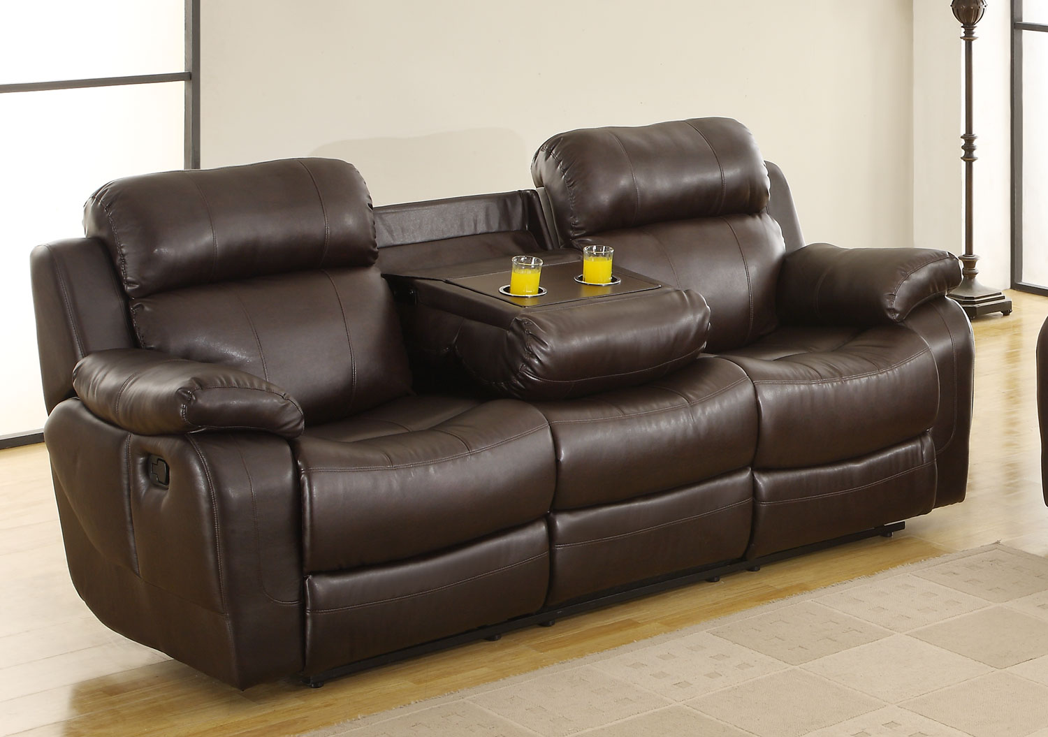 Homelegance Marille Dark Brown Double Reclining Sofa With Center