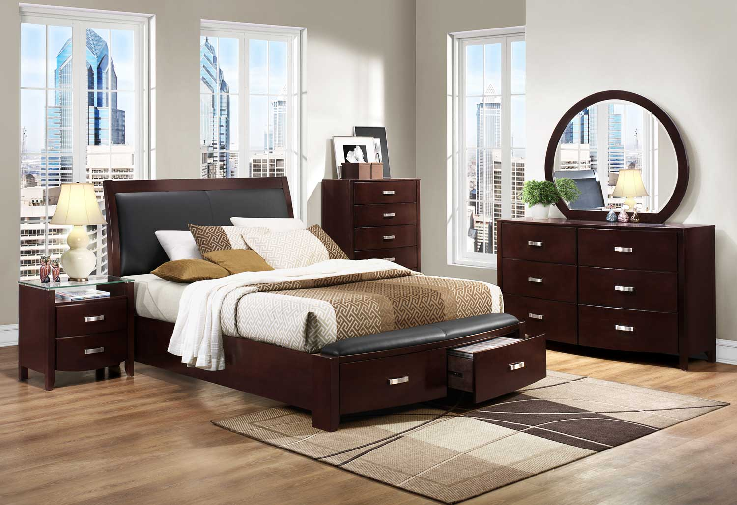 Homelegance Lyric Espresso Sleigh Storage Bedroom Set