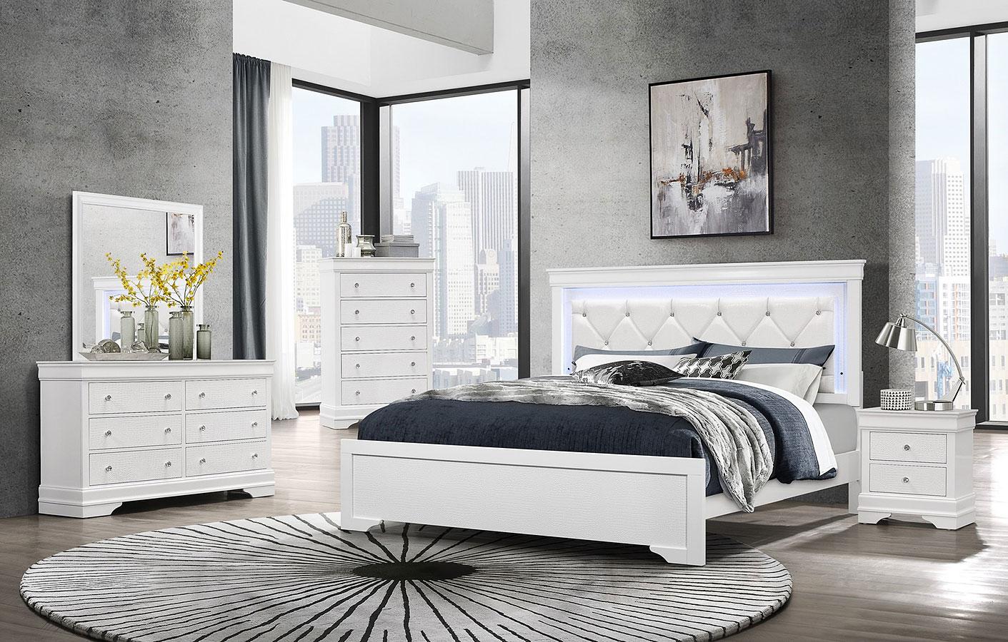 Pompei Panel Bedroom Set White