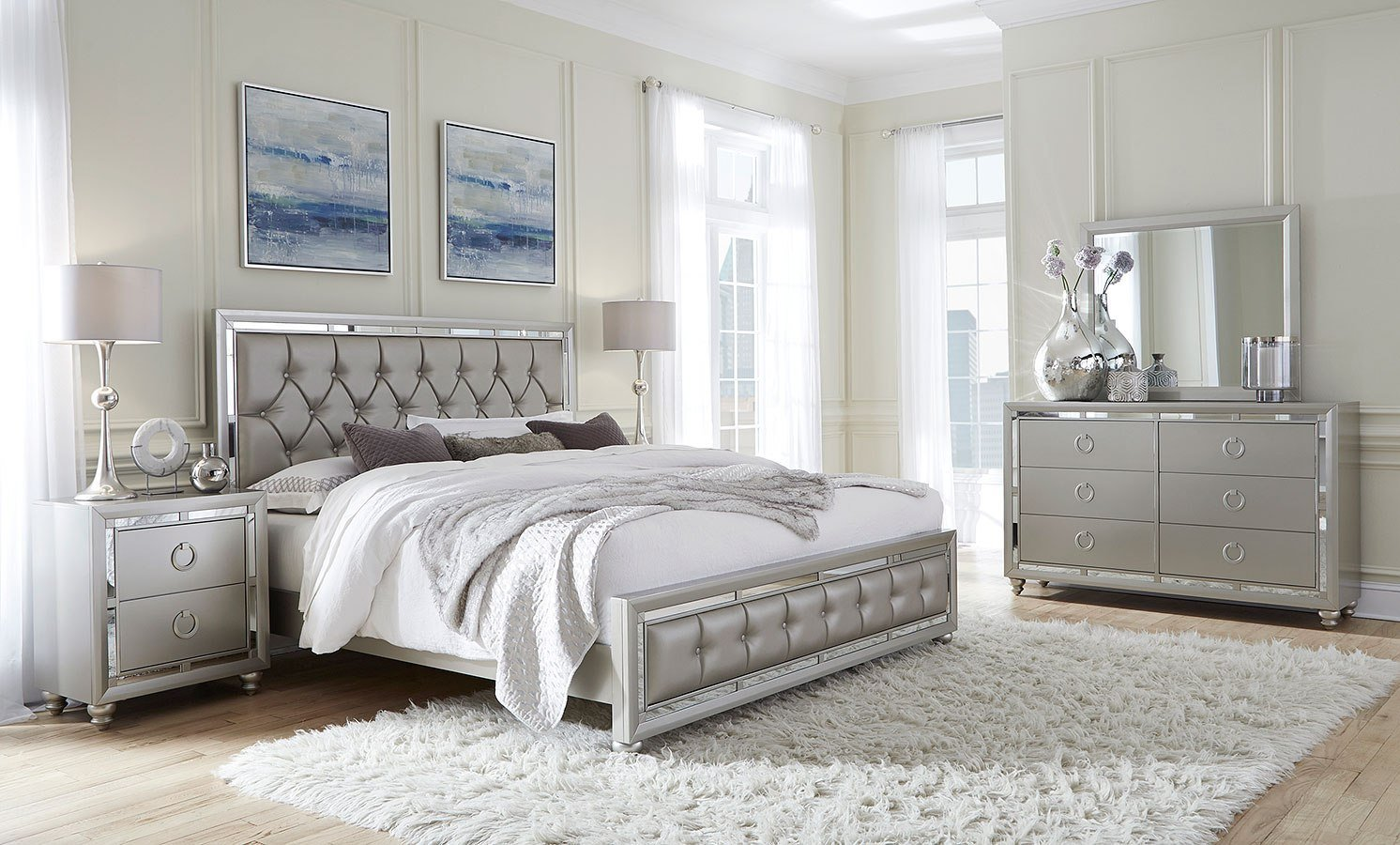 Cassimore Pearl Silver Panel Bedroom Set 1stopbedrooms