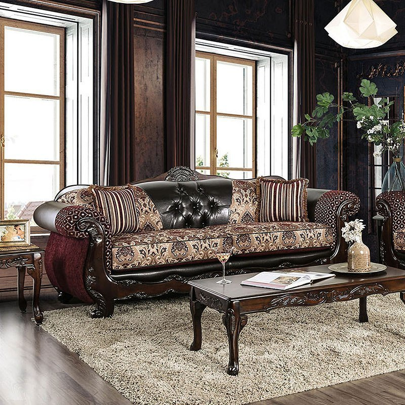 Furniture Of America Living Room Collections: Furniture Of America Quirino Sofa (Burgundy / Dark Brown