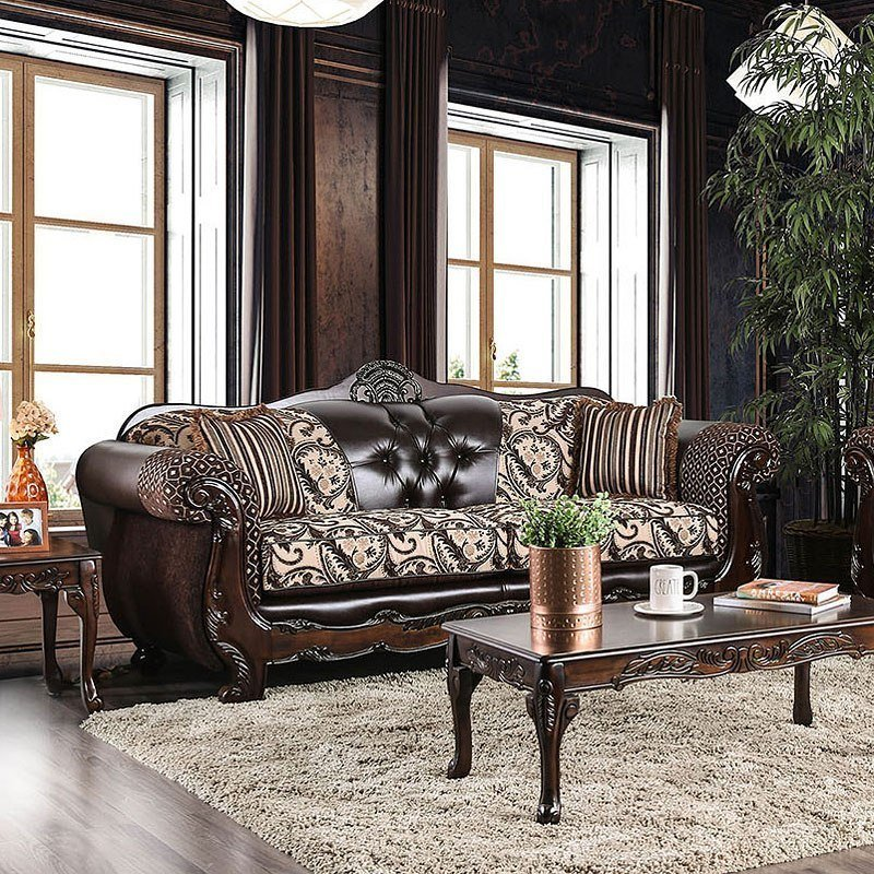 Furniture Of America Living Room Collections: Furniture Of America Quirino Sofa (Light Brown / Dark