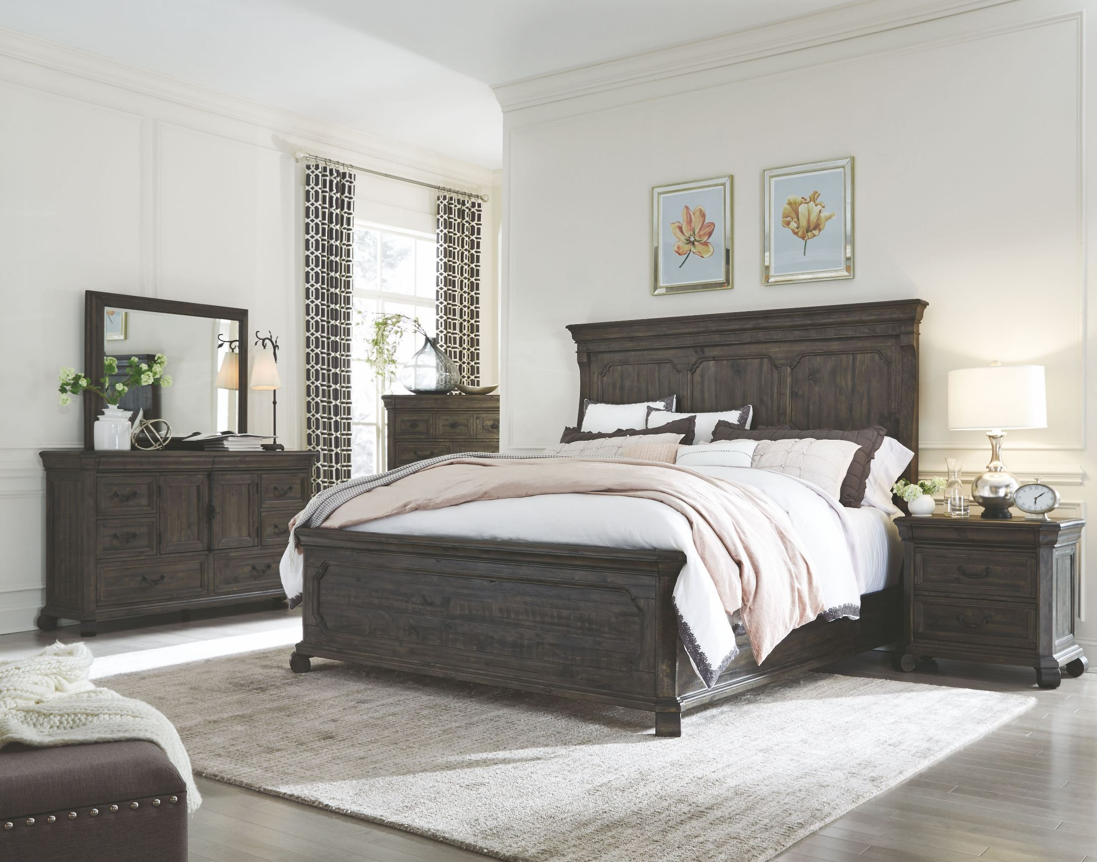 Bellamy peppercorn panel storage bedroom set 1stopbedrooms - Bedroom furniture sets buy now pay later ...