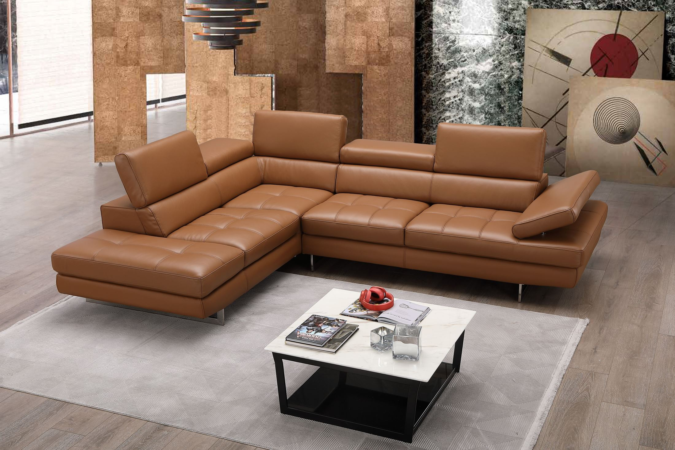 Caramel Italian Leather Laf Sectional 1stopbedrooms
