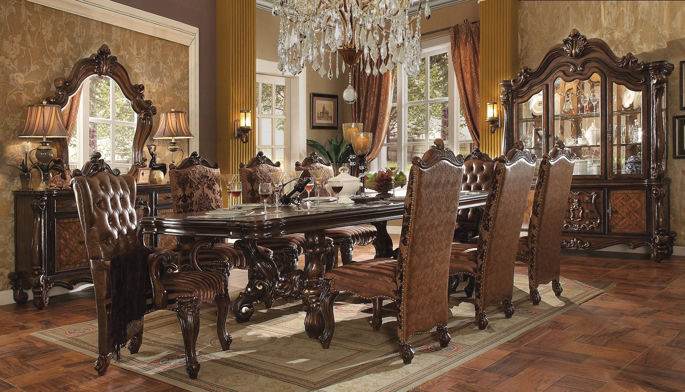 Acme Versailles 9-Piece Pedestal Dining Set in Cherry Oak