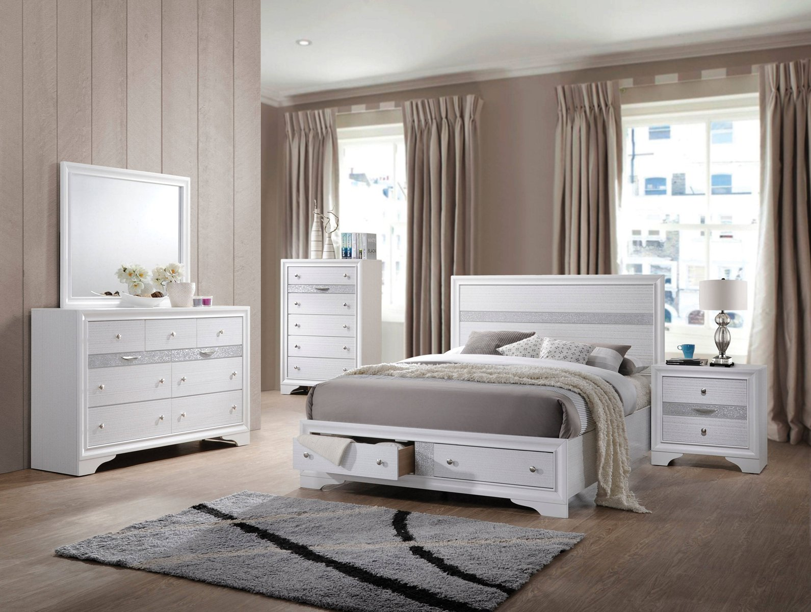 Acme Naima Panel Storage Bedroom Set In White 1stopbedrooms