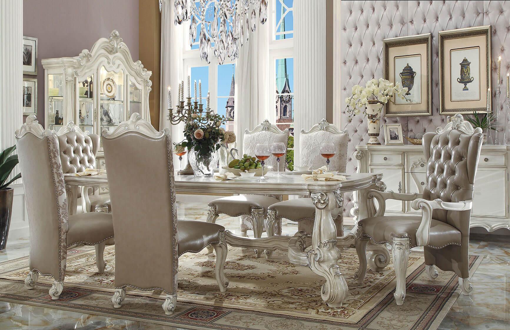 Acme Acme Versailles 7 Piece Rectangular Dining Set In
