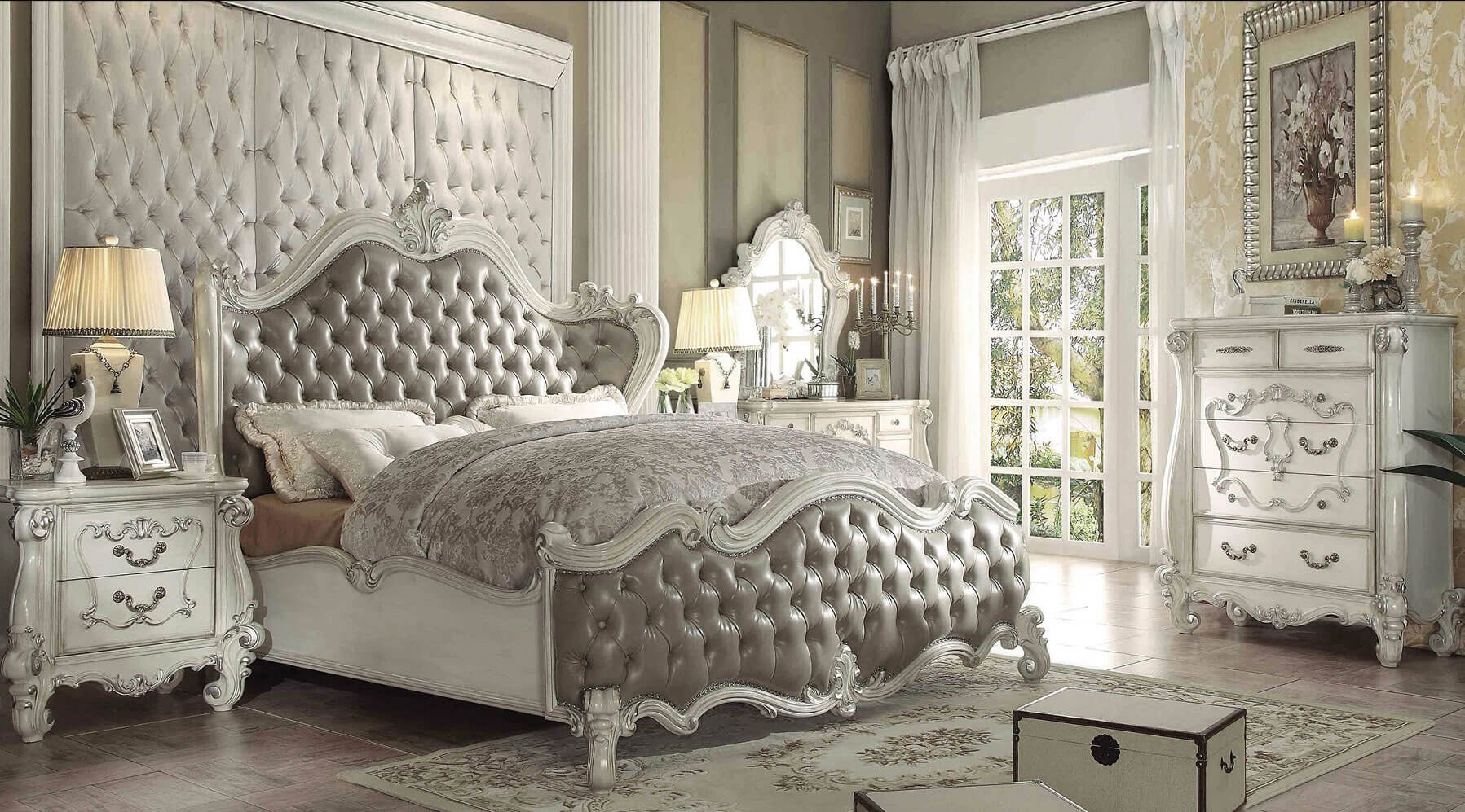 Acme Versailles Upholstered Bedroom Set In Vintage Gray Pu And Bone White 1stopbedrooms