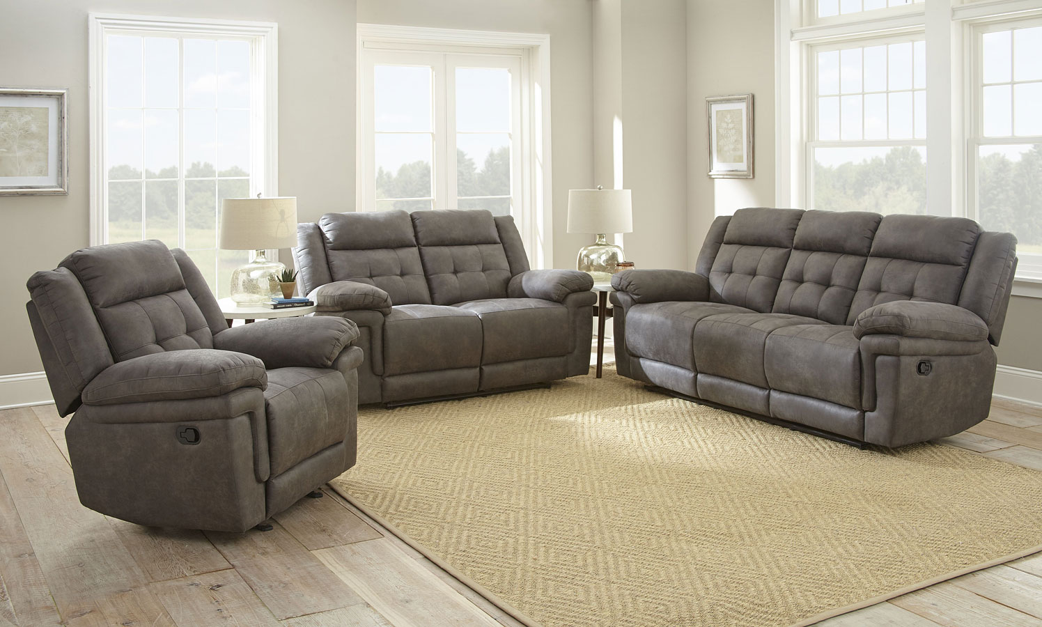 Anastasia Reclining Living Room Set (Gray) by Steve Silver