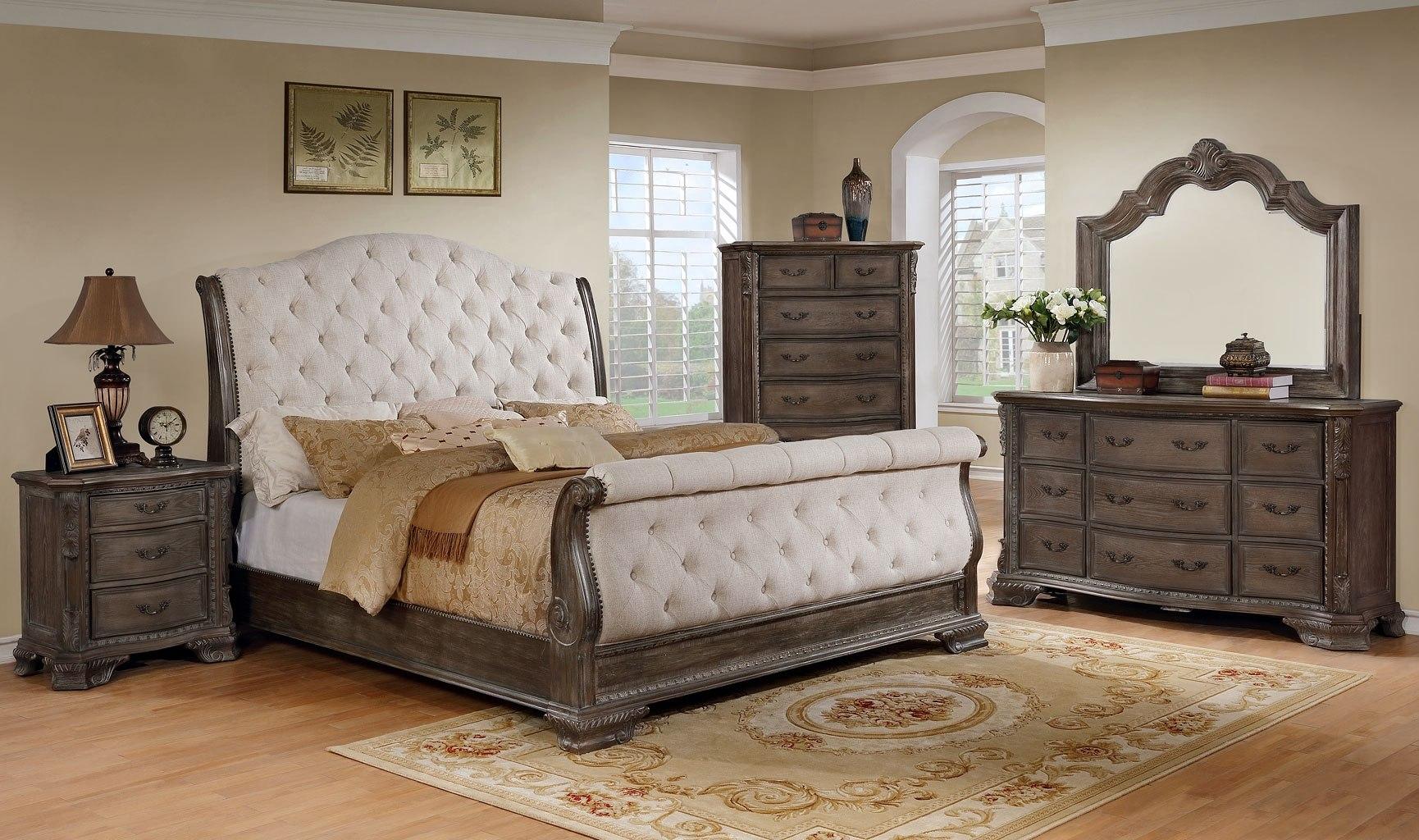 Grey Vintage Bedroom: Sheffield Upholstered Sleigh Bedroom Set (Antique Grey