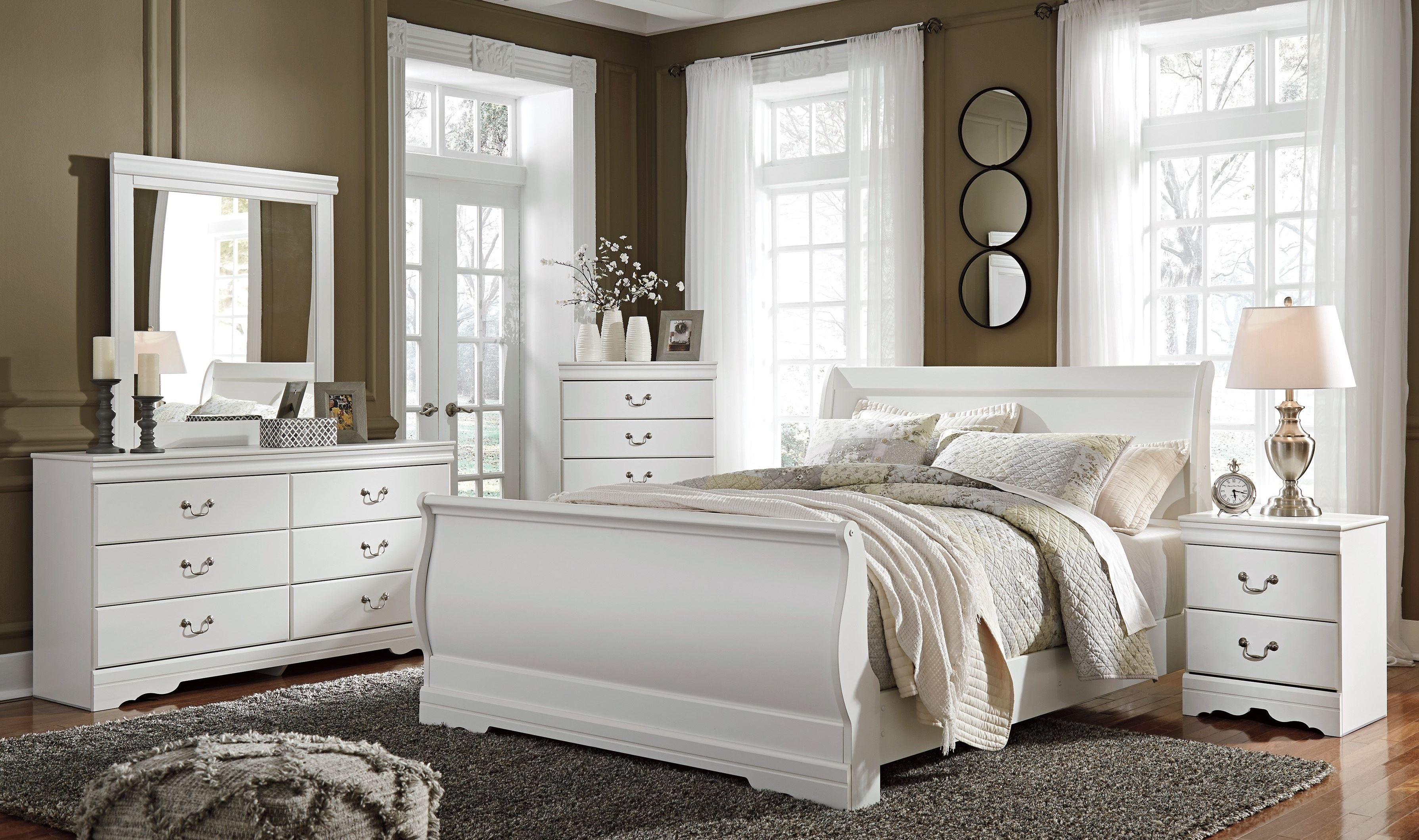 Signature Design by Ashley Anarasia White Youth Sleigh Bedroom Set ...
