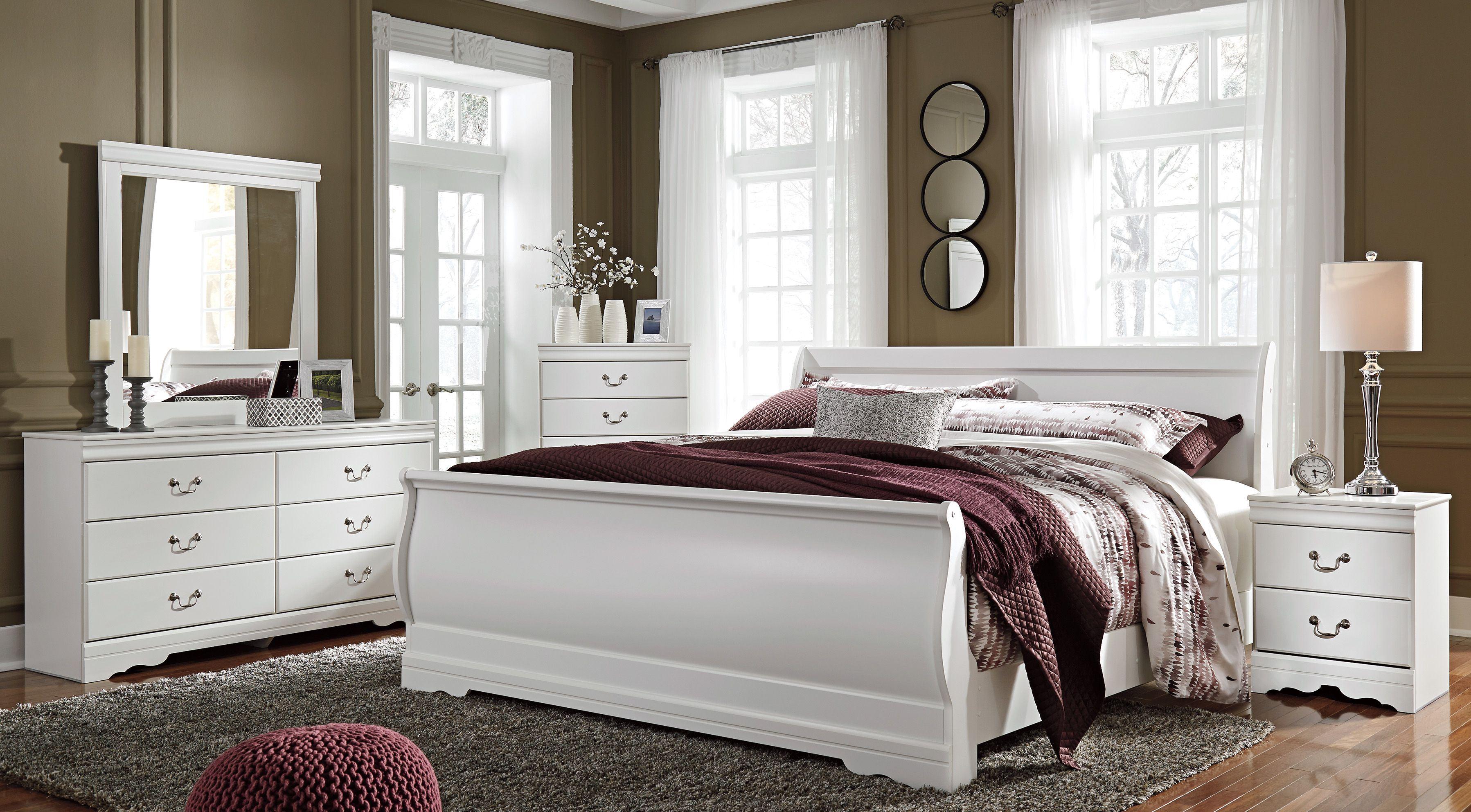 signature designashley anarasia white sleigh bedroom