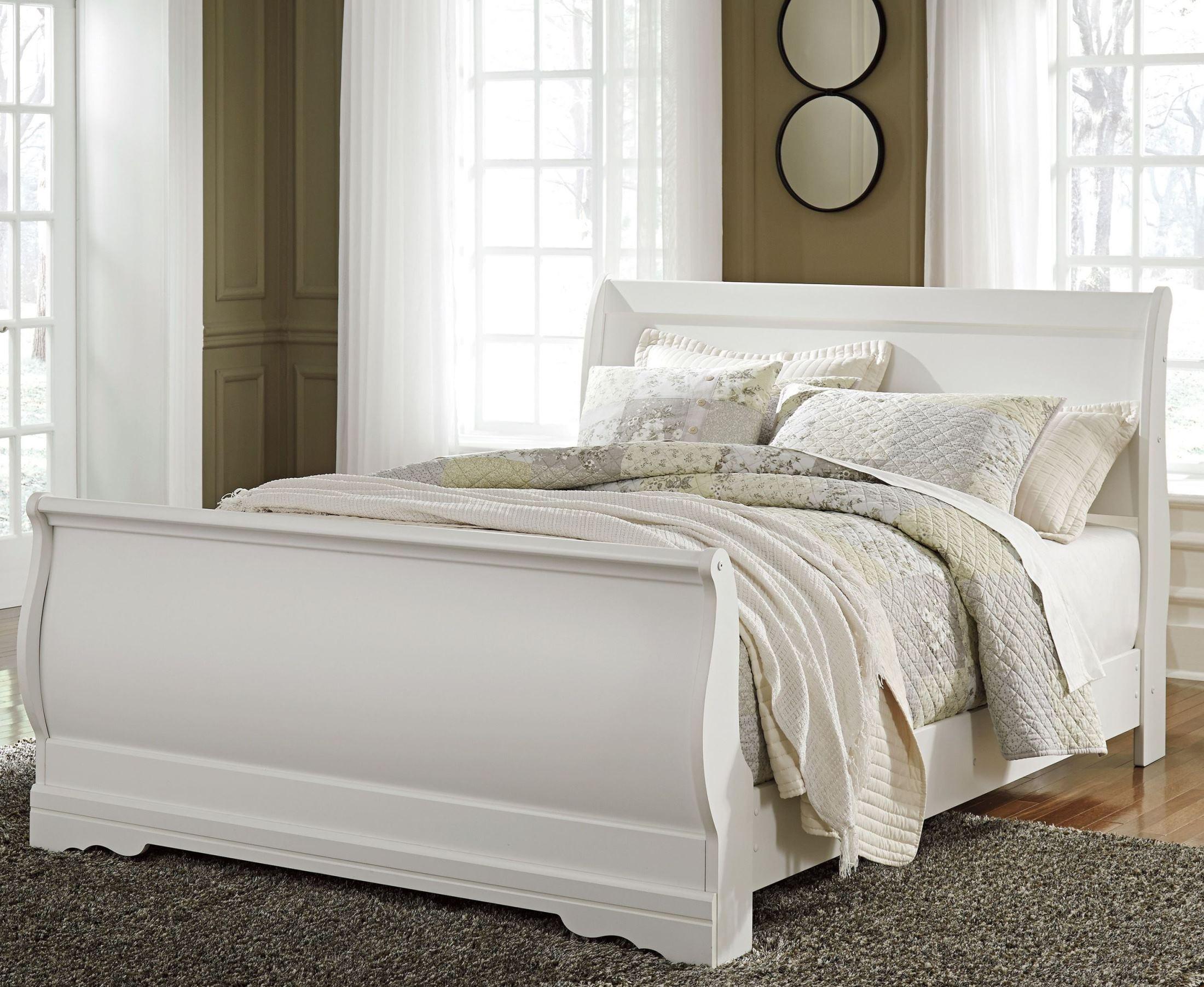 - Anarasia White Twin Sleigh Bed - 1StopBedrooms.