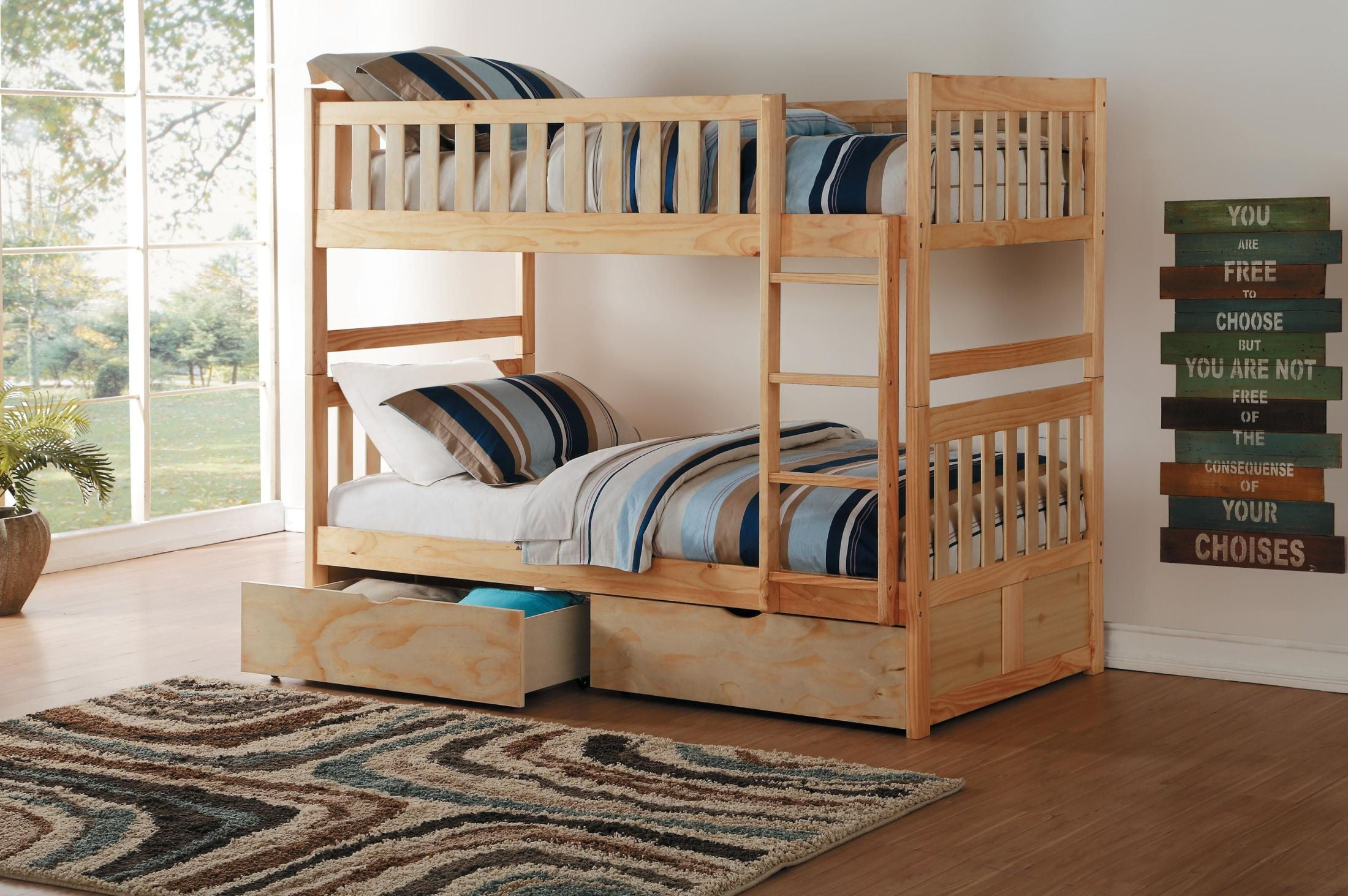 Bartly Pine Youth Bunk Bedroom Set With Storage