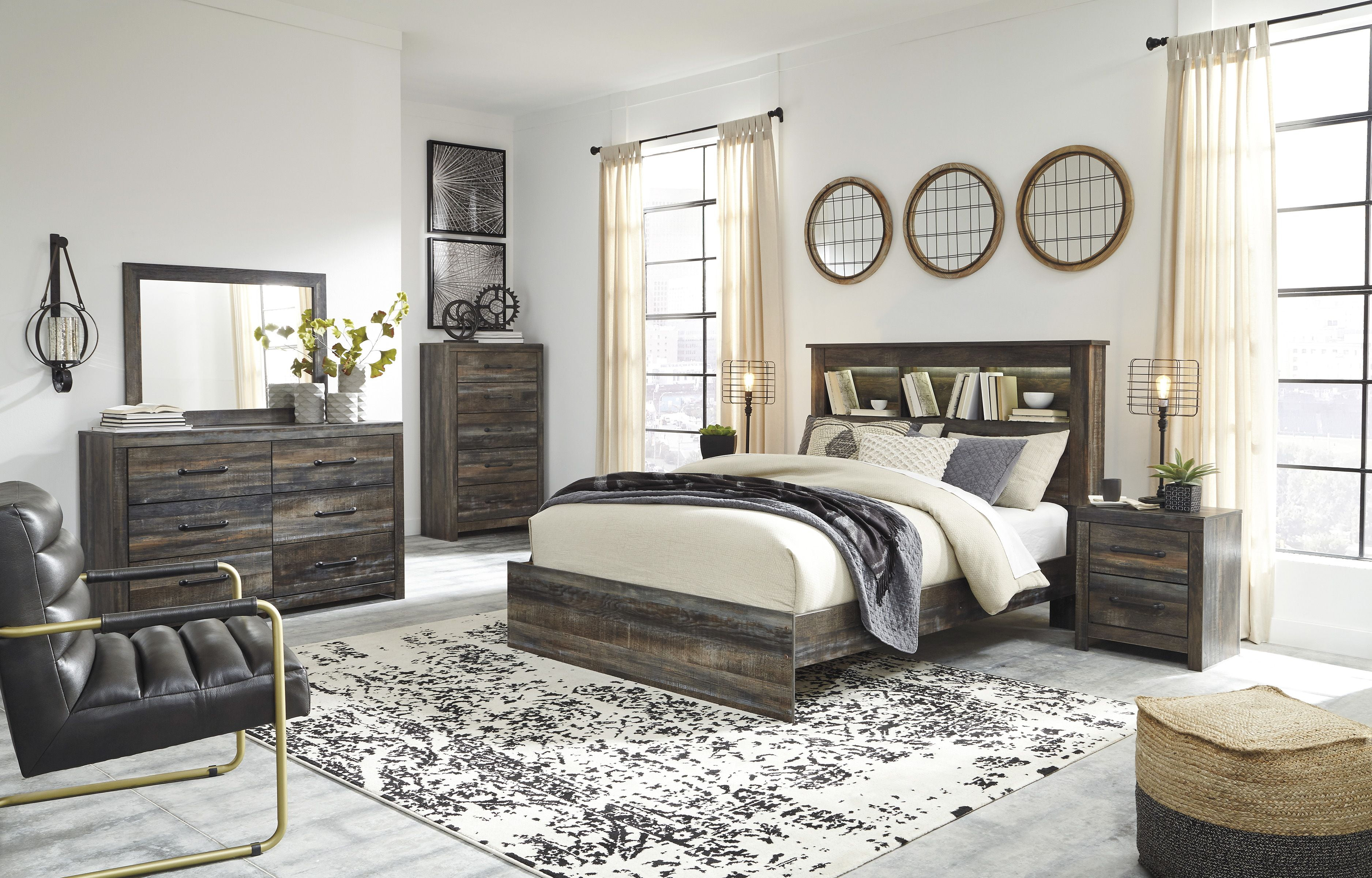 Drystan Multi Bookcase Panel Bedroom Set - 1StopBedrooms.
