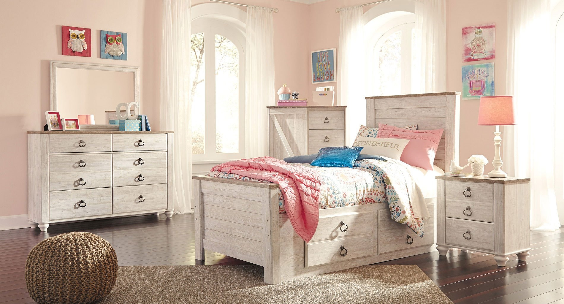signature design by ashley willowton youth storage bedroom