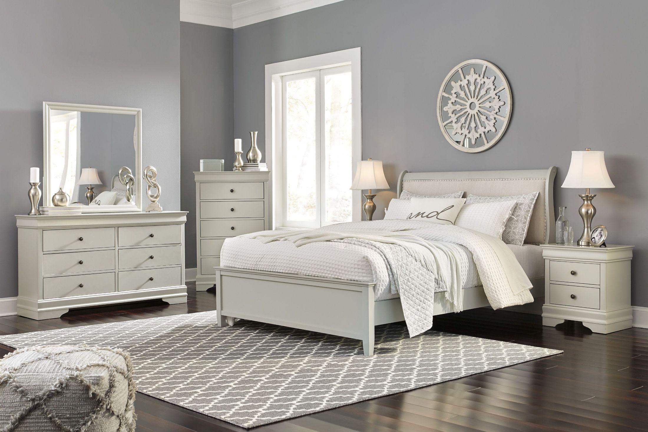 jorstad gray upholstered sleigh bedroom set  1stopbedrooms