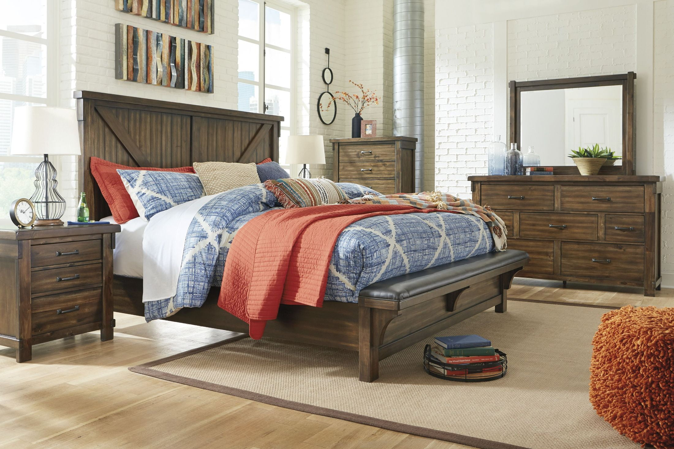 Lakeleigh brown panel bench bedroom set 1stopbedrooms - Bedroom furniture sets buy now pay later ...