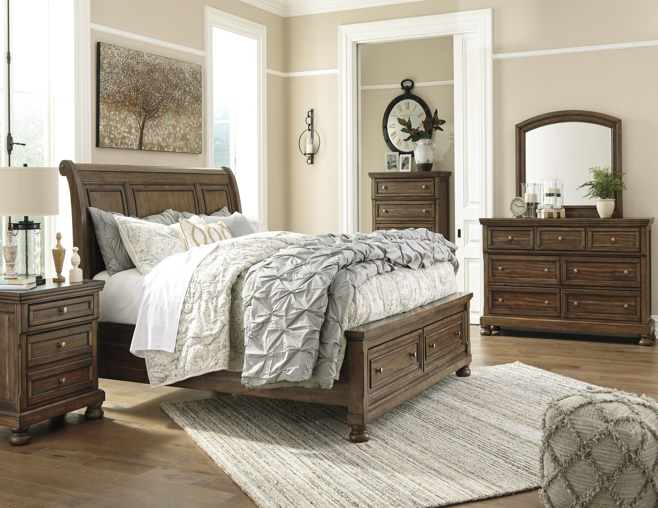 Flynnter Medium Brown Sleigh Storage Bedroom Set - 1StopBedrooms.