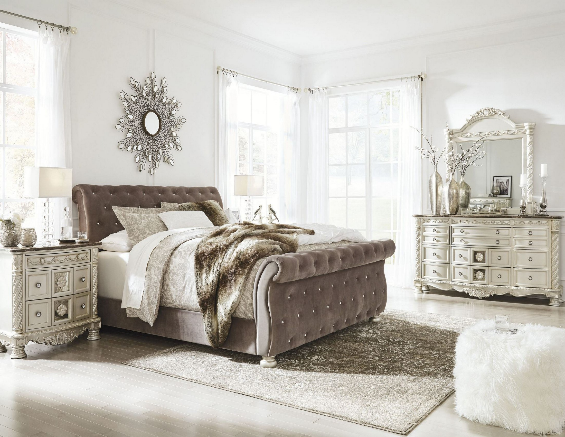 Signature Design By Ashley Cassimore North Shore Pearl Silver Upholstered Bedroom Set