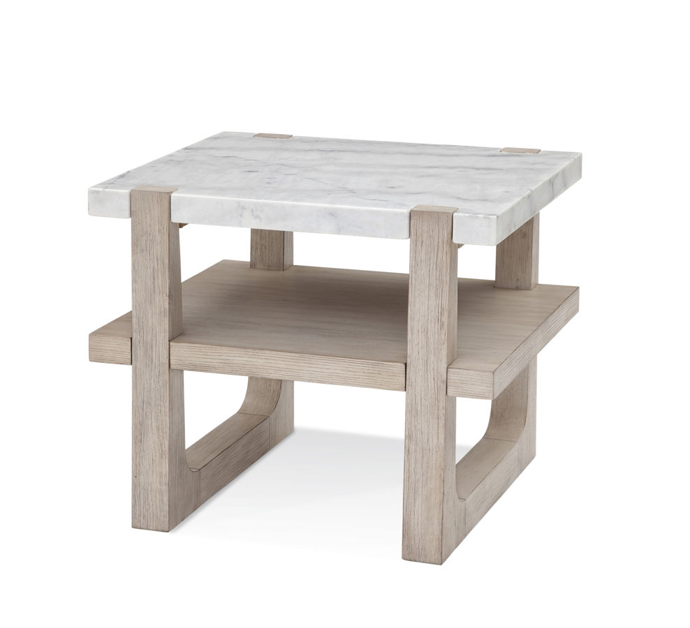 Bassett Mirror Newport Sunbleached Ash Bianco Marble Rectangle End Table 1stopbedrooms