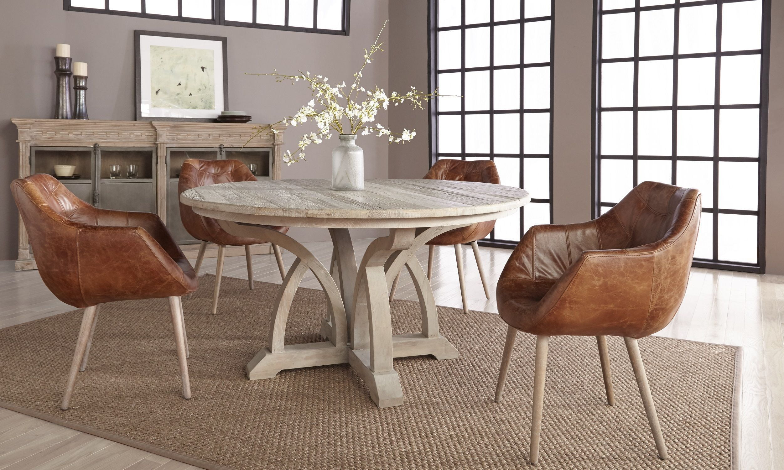 Carnegie Smoke Gray Elm 60 Round Dining Room Set With Morris Chestnut Antique Leather
