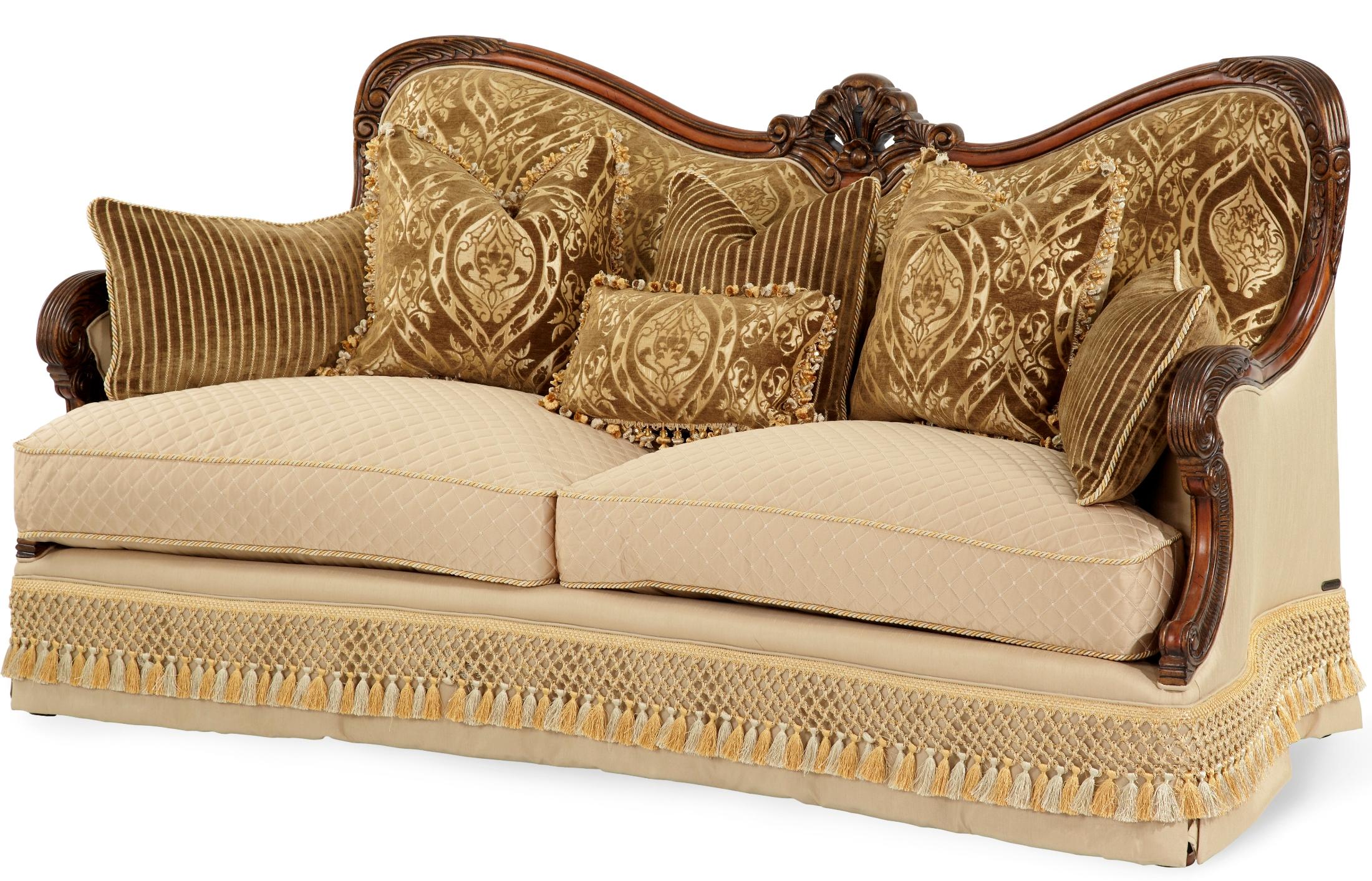 Aico chateau beauvais wood trim sofa chateau beauvais - Chateau beauvais living room furniture ...