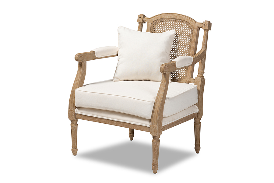 clemence french provincial ivory fabric upholstered whitewashed wood armchair qb