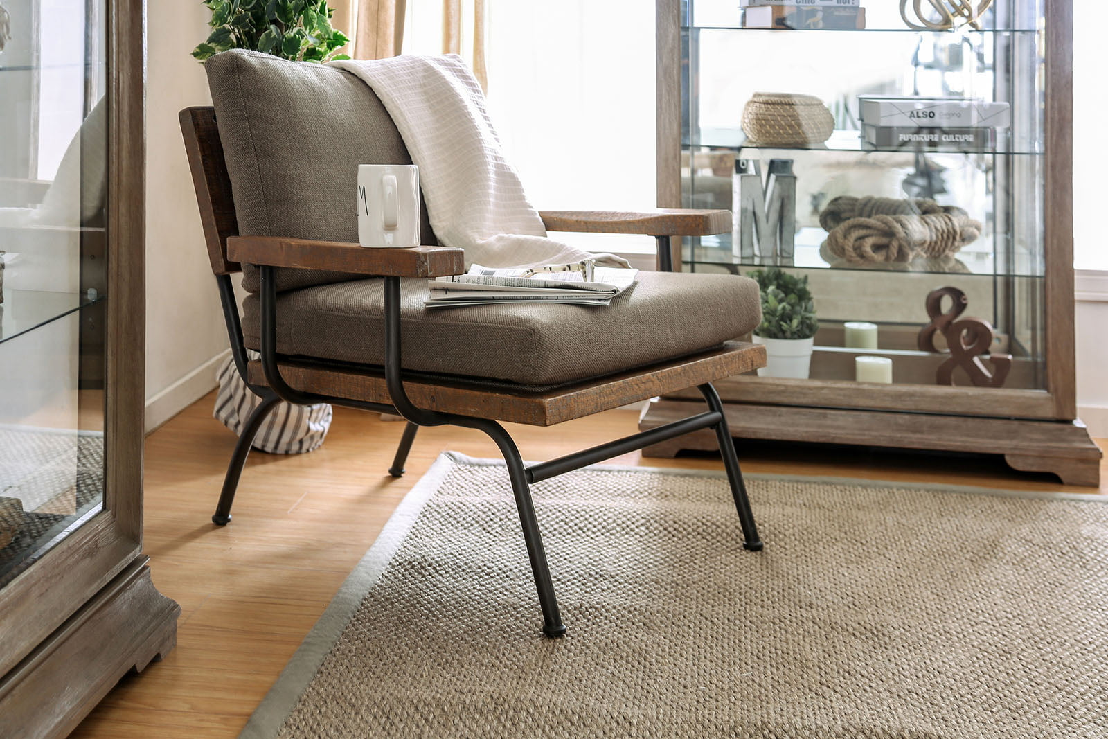Furniture Of America Santiago Light Brown Accent Chair
