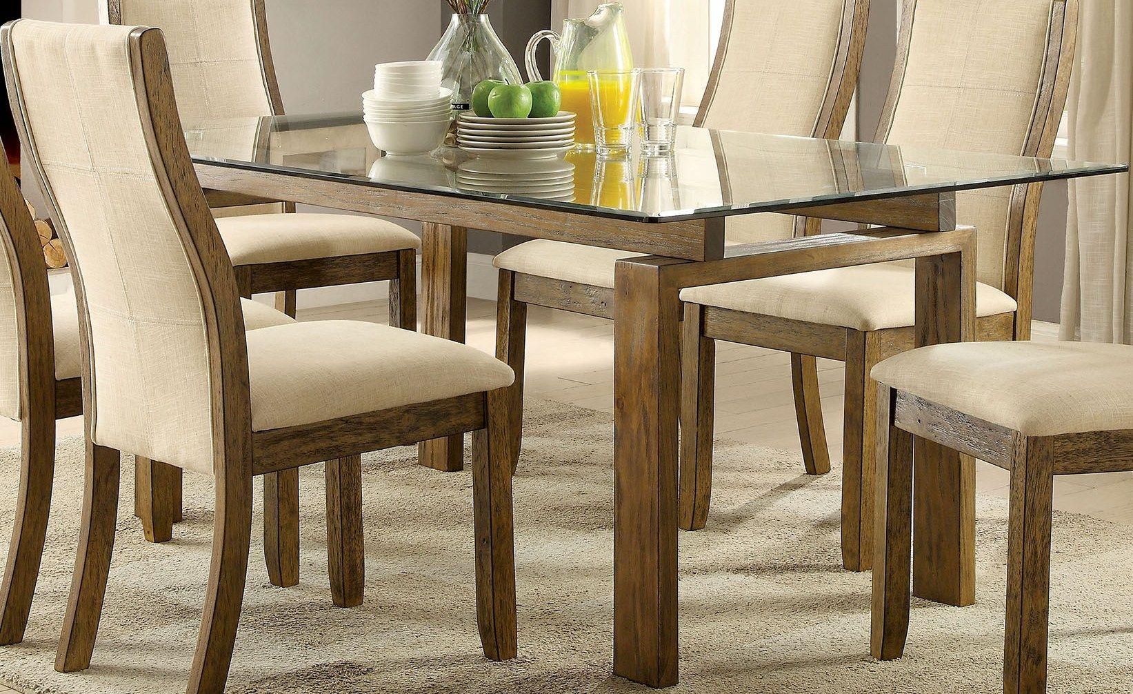 Furniture Of America Onway Oak Rectangular Glass Top Dining Table