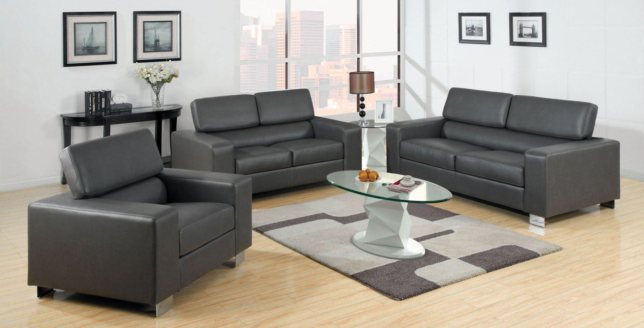 Makri Gray Bonded Leather Match Living Room Setmedia Image