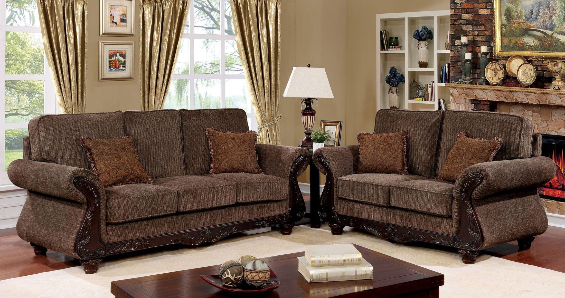 Margarita Brown And Dark Cherry Living Room Set