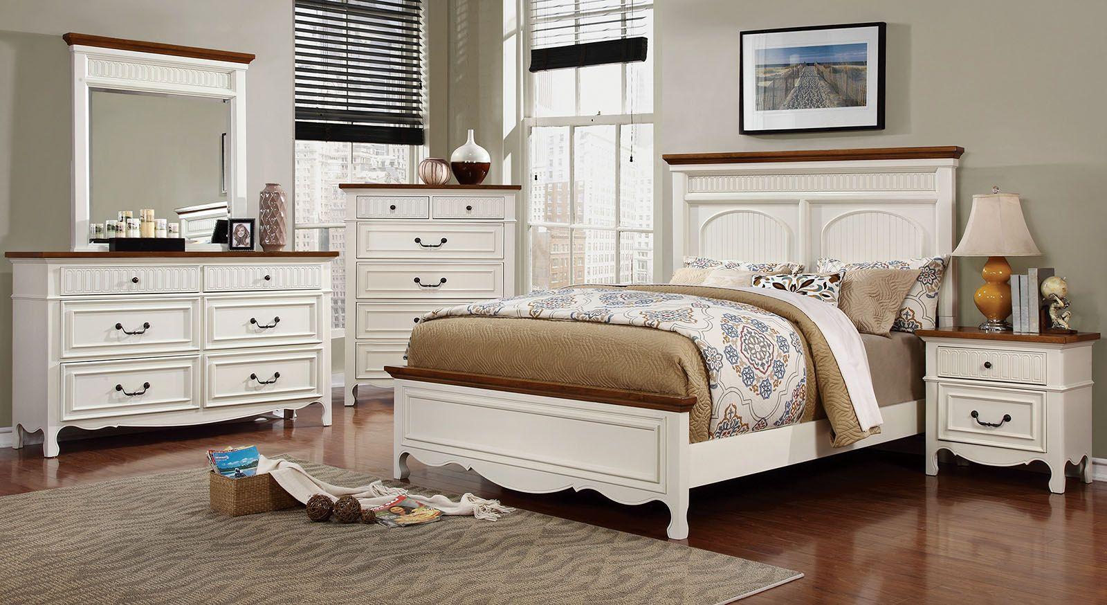 Galesburg White and Oak Bedroom Set