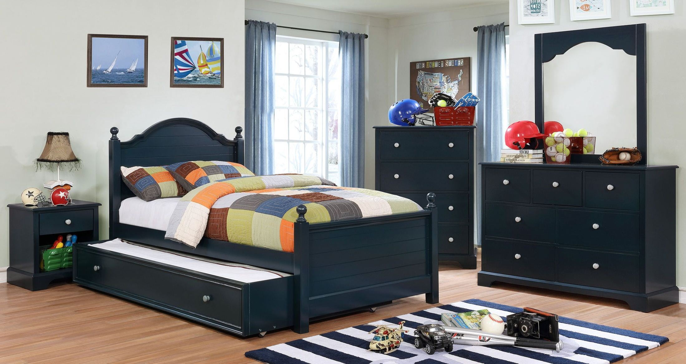 Furniture of america diane blue youth storage platform - Youth bedroom furniture with storage ...