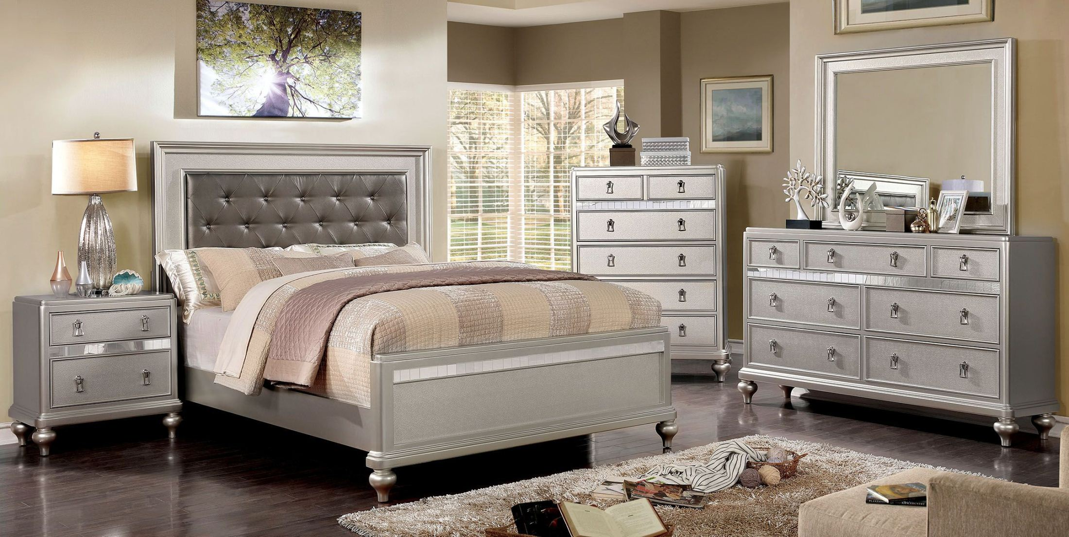 Ariston Rose Gold Full Upholstered Panel Bed 1stopbedrooms
