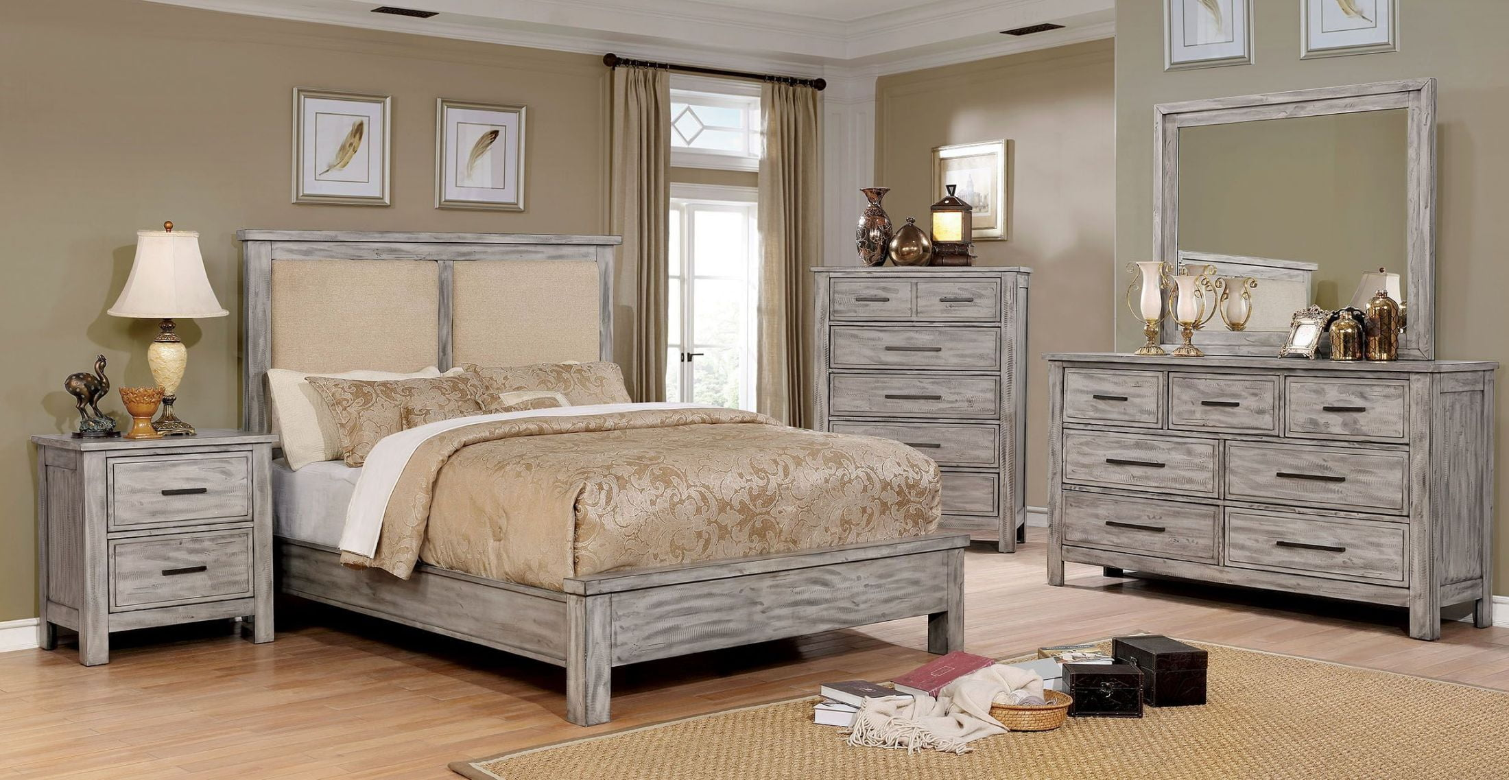 Grey Vintage Bedroom: Furniture Of America Canopus Antique Gray Upholstered