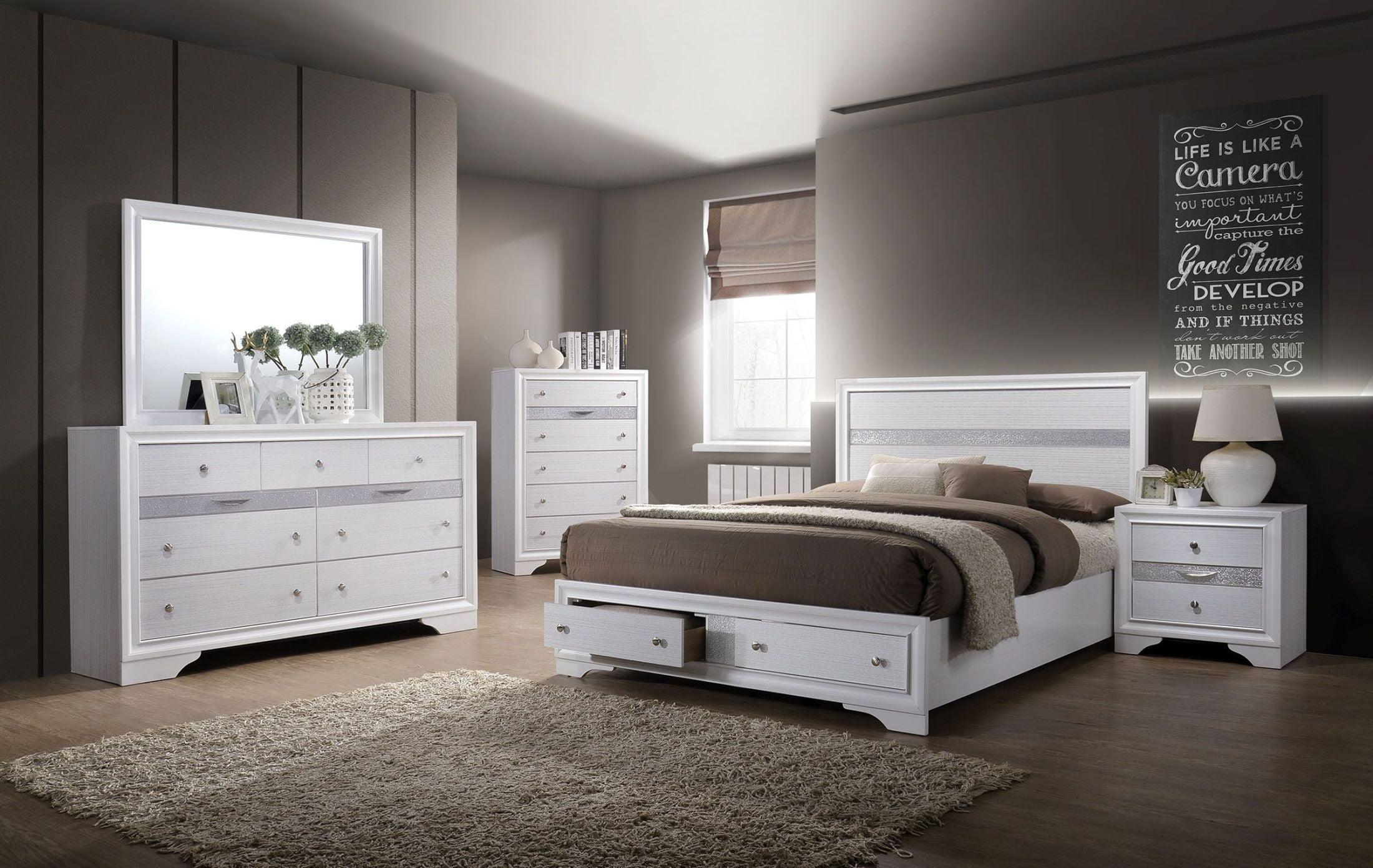 Chrissy White Storage Platform Bedroom Set