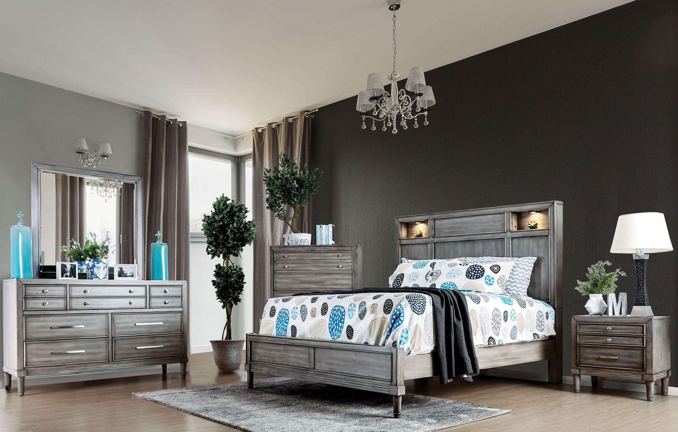 furniture of america daphne gray upholstered platform bedroom set - daphne collection: 5 reviews