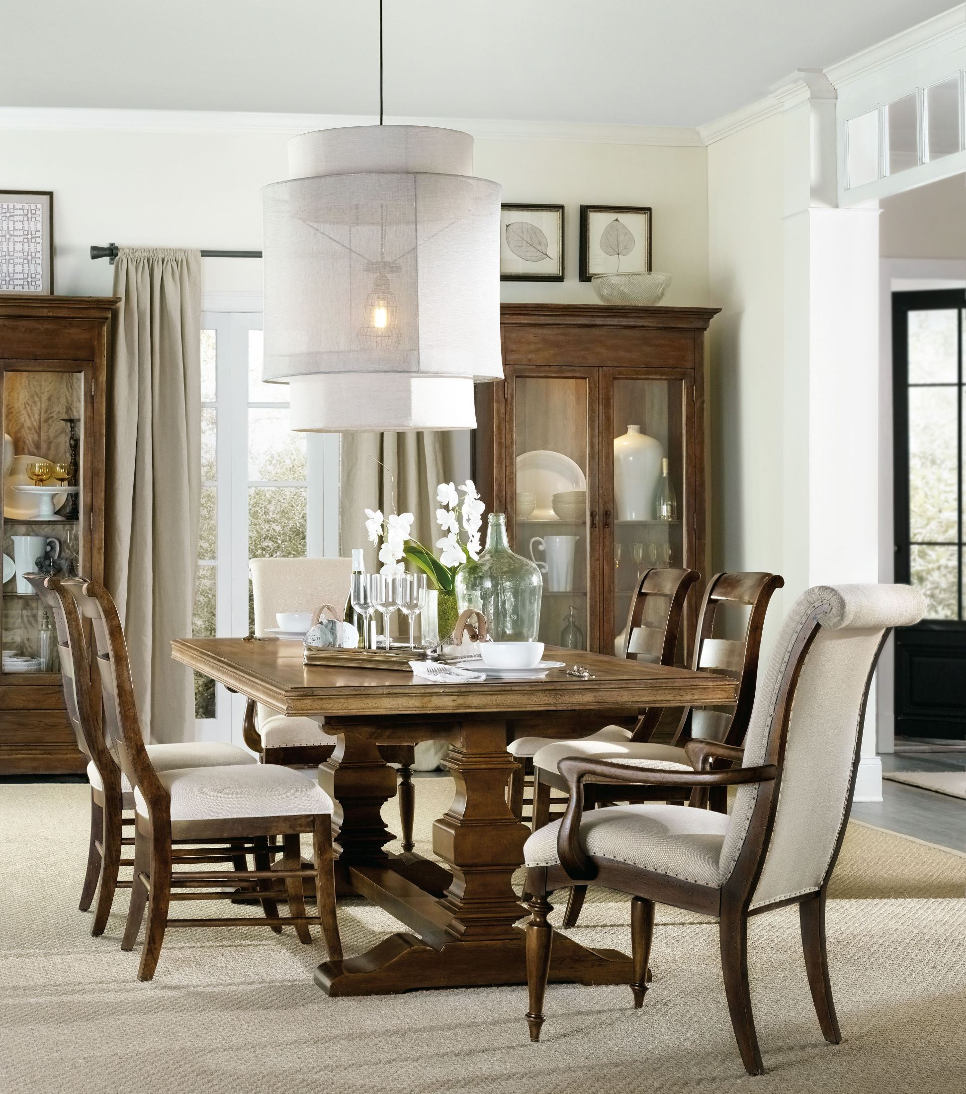 Archivist Light Wood Rectangular Trestle Dining Room SetMedia Image