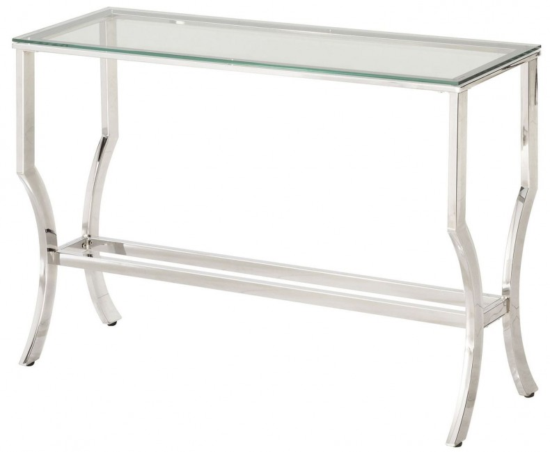 Chrome And Tempered Gl Sofa Table