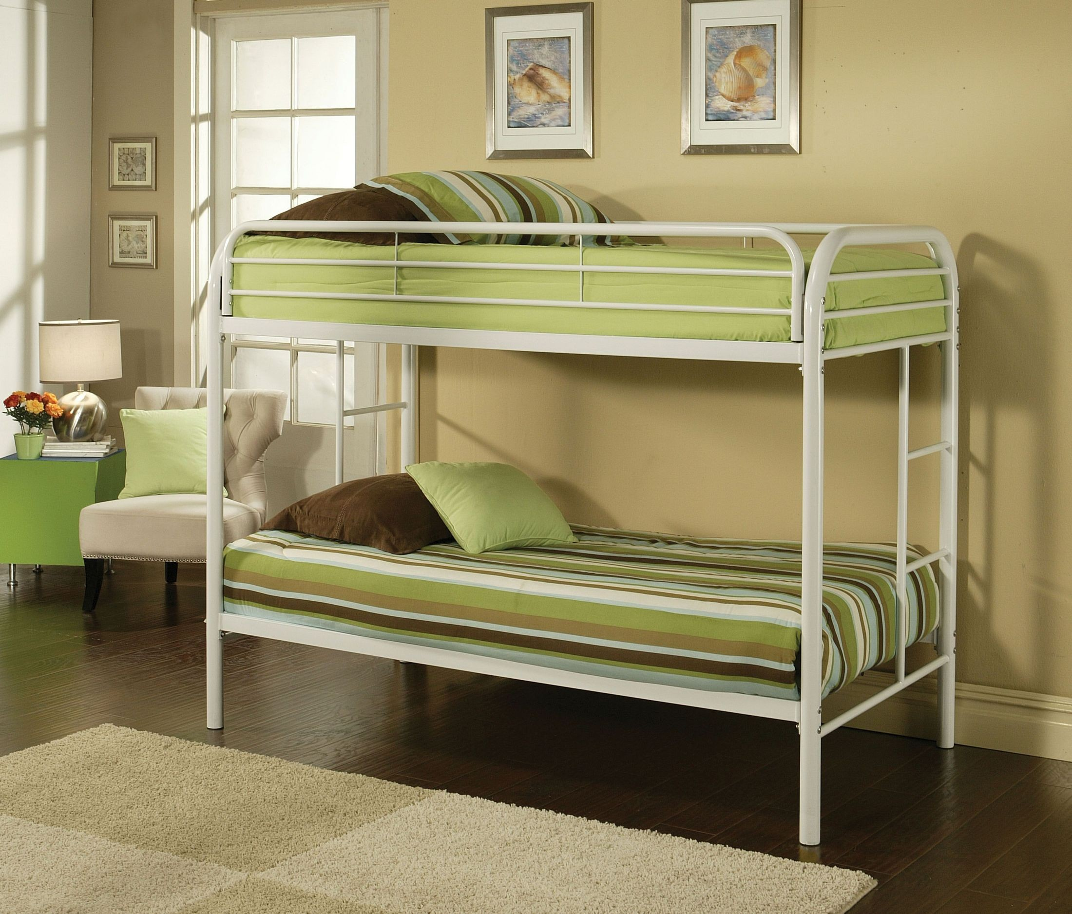 Picture of: Thomas White Twin Over Twin Metal Bunk Bed 1stopbedrooms