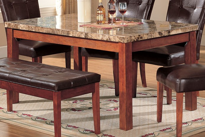 Acme Bologna Marble Top Rectangular Dining Table In Brown 07045SM