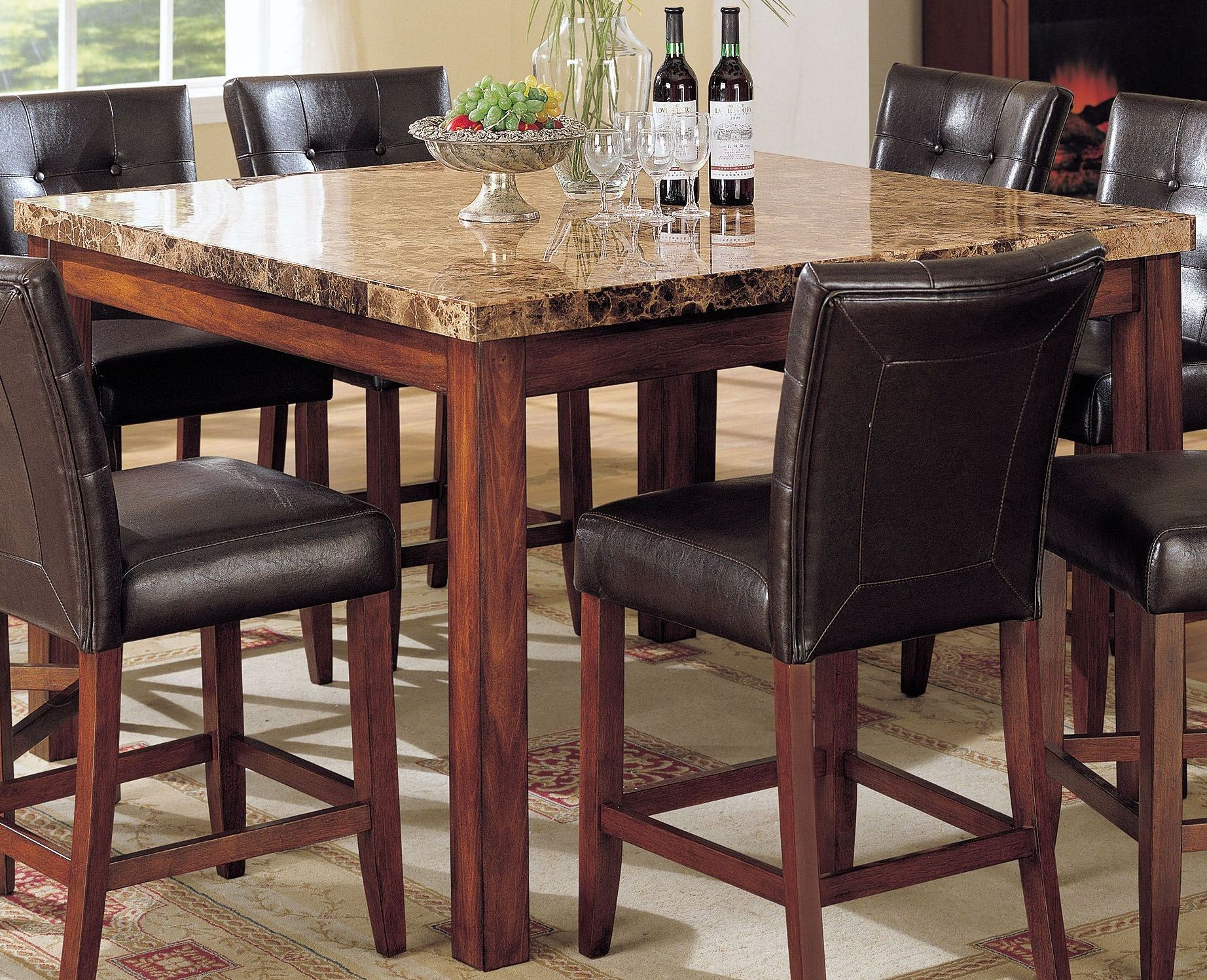 81c801ea7422 Bologna Brown Marble and Brown Cherry Counter Height Dining Room Set ...
