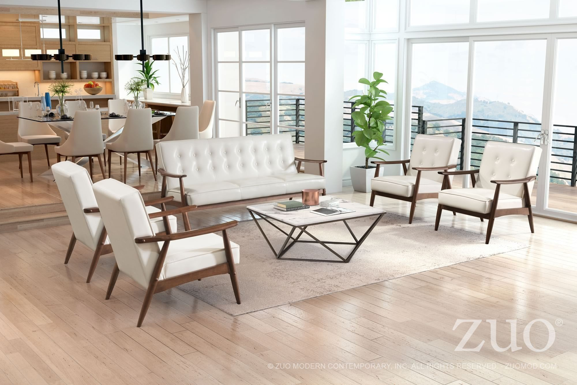 Rocky White Living Room Set