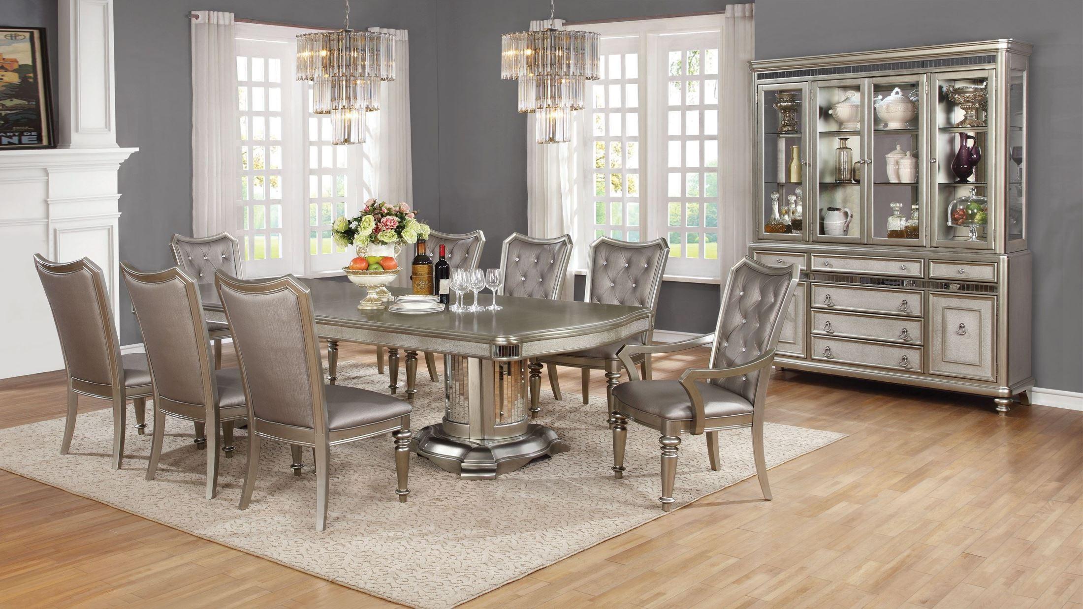 Danette Metallic Platinum Dining Room Set Media Gallery