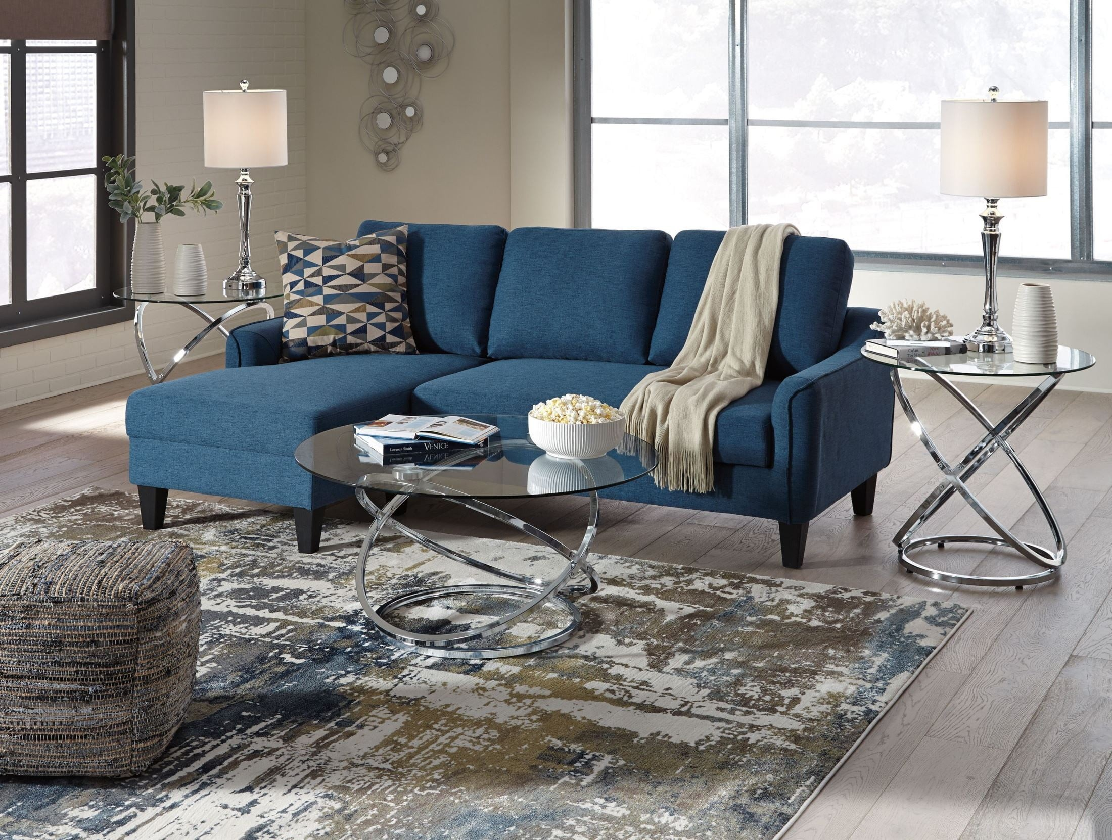 Signature Design By Ashley Jarreau Blue Living Room Set