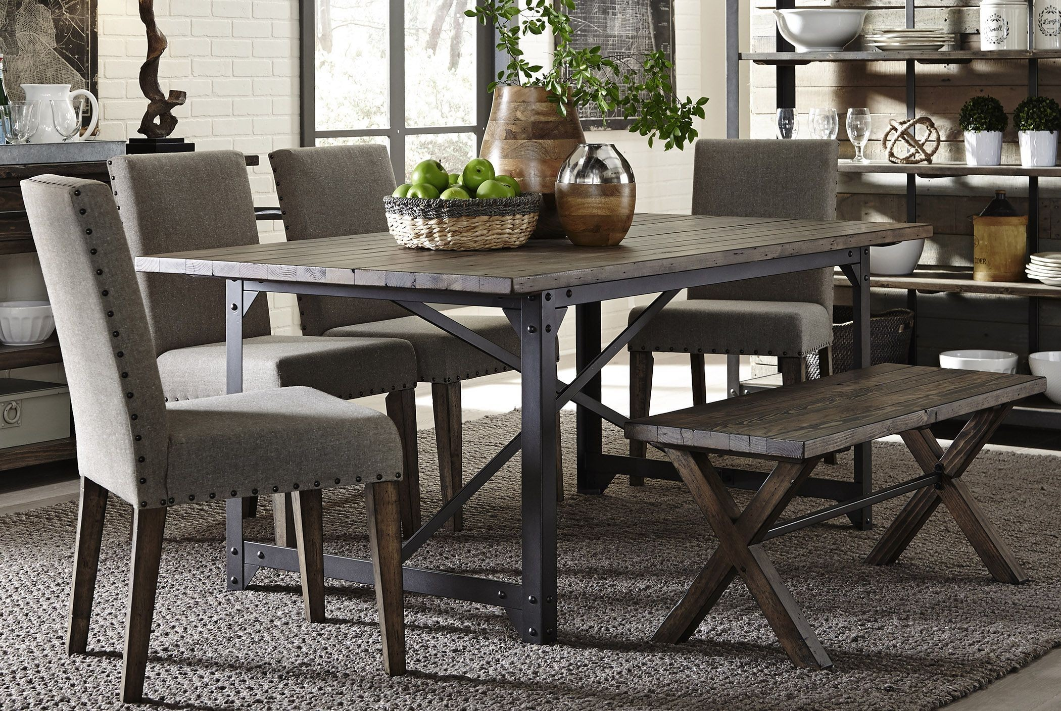 Caldwell Dining Brown Trestle Dining Room Set Media Gallery 1